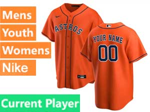 Mens Womens Youth Nike 2020 Houston Astros Orange Cool Base Current Player Alternate Jersey