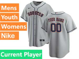 Mens Womens Youth Nike 2020 Houston Astros Cool Base Current Player Gray Road Jersey