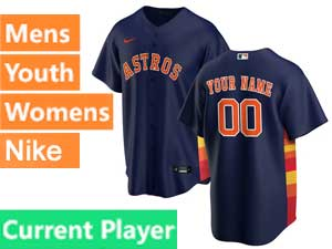 Mens Womens Youth Nike 2020 Houston Astros Cool Base Current Player Blue Alternate Jersey
