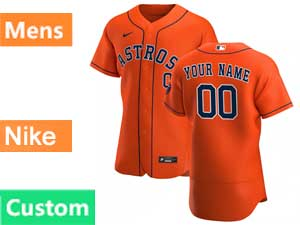 Mens Nike 2020 Mlb Houston Astros Flex Base Custom Made Orange Alternate Jersey