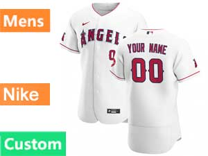 Mens Nike 2020 Los Angeles Angels Custom Made Flex Base White Home Jersey