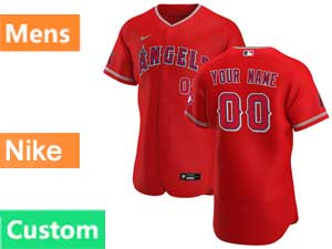 Mens Nike 2020 Los Angeles Angels Custom Made Flex Base Red Alternate Jersey