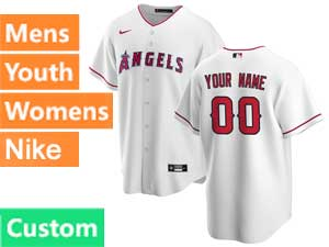 Mens Womens Youth Nike 2020 Mlb Los Angeles Angels Custom Made White Cool Base Home Jersey