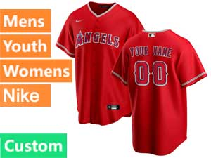 Mens Womens Youth Nike 2020 Mlb Los Angeles Angels Custom Made Cool Base Red Alternate Jersey