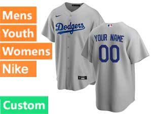 Mens Womens Youth Nike 2020 Mlb Los Angeles Dodgers Custom Made Cool Base Gray Road Jersey