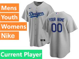 Mens Womens Youth Mlb Los Angeles Dodgers Current Player Cool Base 2020 Nike Gray Road Jersey