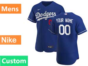 Mens Mlb Los Angeles Dodgers Custom Made Flex Base 2020 Nike Blue Alternate Jersey