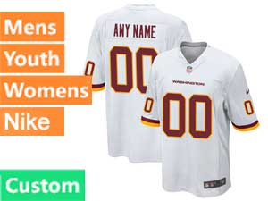 Mens Womens Youth Nfl Washington Football Team Custom Made Nike White Game Jersey