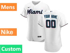 Mens Mlb Miami Marlins Custom Made Nike 2020 White Flex Base Home Jersey