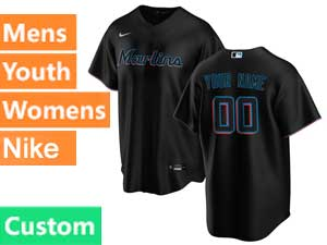 Mens Mlb Miami Marlins Custom Made Black Cool Base 2020 Alternate Nike Jersey