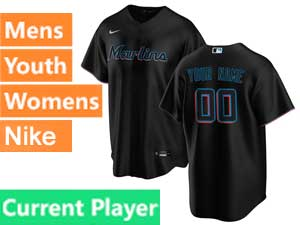 Mens Womens Youth Mlb Miami Marlins Current Player Black Cool Base 2020 Alternate Nike Jersey