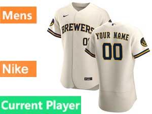 Mens Mlb Milwaukee Brewers Current Player Flex Base Nike 2020 Cream Home Jersey
