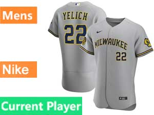 Mens Mlb Milwaukee Brewers Current Player Flex Base Nike 2020 Gray Road Jersey