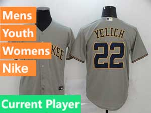 Mens Womens Youth Mlb Milwaukee Brewers Current Player Nike 2020 Cool Base Gray Road Jersey