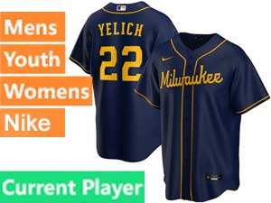 Mens Womens Youth Mlb Milwaukee Brewers Current Player Nike 2020 Blue Cool Base Alternate Jersey
