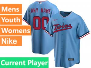 Mens Womens Youth Minnesota Twins Current Player Nike 2020 Alternate Blue Cool Base Jersey