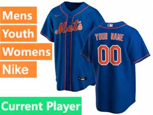 Mens Womens Youth Mlb New York Mets Current Player Blue Alternate Nike 2020 Cool Base Jersey