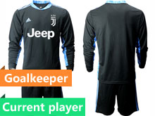 Mens 20-21 Soccer Juventus Club Current Player Black Goalkeeper Long Sleeve Suit Jersey
