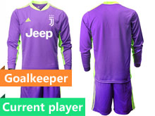 Mens 20-21 Soccer Juventus Club Current Player Purple Goalkeeper Long Sleeve Suit Jersey