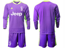 Mens 20-21 Soccer Juventus Club ( Custom Made ) Purple Goalkeeper Long Sleeve Suit Jersey