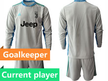 Mens 20-21 Soccer Juventus Club Current Player Gray Goalkeeper Long Sleeve Suit Jersey