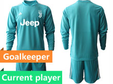 Mens 20-21 Soccer Juventus Club Current Player Blue Goalkeeper Long Sleeve Suit Jersey