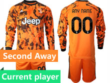 Mens 20-21 Soccer Juventus Club Current Player Yellow Second Away Long Sleeve Suit Jersey