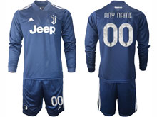 Mens 20-21 Soccer Juventus Club ( Custom Made ) Navy Blue Away Long Sleeve Suit Jersey