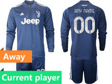 Mens 20-21 Soccer Juventus Club Current Player Navy Blue Second Away Long Sleeve Suit Jersey