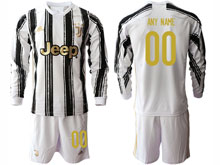 Mens 20-21 Soccer Juventus Club ( Custom Made ) White Black Stripe Home Long Sleeve Suit Jersey