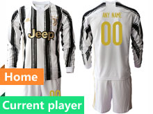 Mens 20-21 Soccer Juventus Club Current Player White Black Stripe Home Long Sleeve Suit Jersey