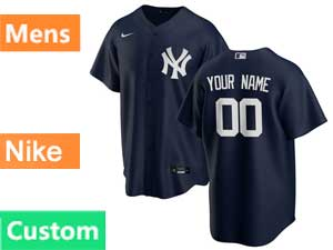 Mens Mlb New York Yankees White Custom Made Nike 2020 Blue Alternate Flex Base Jersey