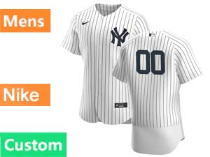 Mens Mlb New York Yankees White Custom Made Nike 2020 White Home Flex Base Jersey