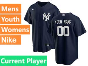 Mens Womens Youth Mlb New York Yankees Current Player Cool Base Nike 2020 Blue Alternate Jersey