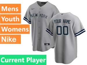 Mens Womens Youth Mlb New York Yankees Current Player Cool Base Nike 2020 Gray Road Jersey