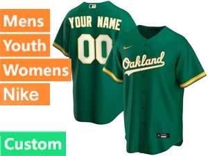 Mens Womens Youth Mlb Oakland Athletics Custom Made Nike 2020 Green Alternate Cool Base Jersey