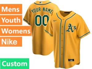 Mens Womens Youth Mlb Oakland Athletics Custom Made Nike 2020 Gold Alternate Cool Base Jersey