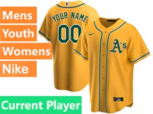 Mens Womens Youth Oakland Athletics Current Player Nike 2020 Gold Alternate Cool Base Jersey