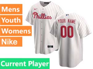 Mens Womens Youth Philadelphia Phillies Current Player White Stripe Nike 2020 White Home Cool Base Jersey