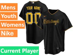 Mens Womens Youth Pittsburgh Pirates Current Player Cool Base 2020 Nike Black Alternate Jersey