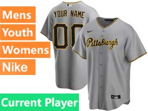 Mens Womens Youth Pittsburgh Pirates Current Player Cool Base 2020 Nike Gray Home Jersey