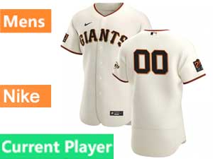Mens Mlb San Francisco Giants Current Player Flex Base Nike 2020 Cream Home Jersey