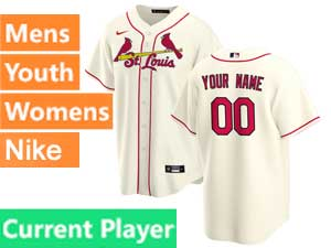 Mens Womens Youth St. Louis Cardinals Current Player Nike 2020 Cream Alternate Cool Base Jersey