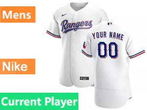 Mens Texas Rangers Current Player Nike 2020 White Home Flex Base Jersey