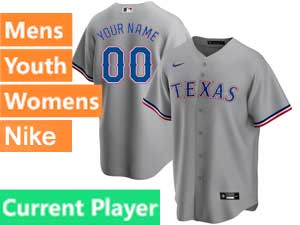 Mens Womens Youth Texas Rangers Current Player Nike 2020 Cool Base Gray Road Jersey