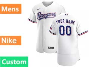 Mens Mlb Texas Rangers Custom Made Nike 2020 White Home Flex Base Jersey