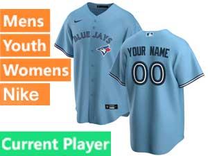 Mens Women Youth Toronto Blue Jays Current Player Nike 2020 Cool Base Light Blue Alternate Jersey