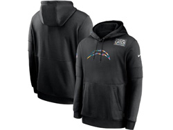 Mens Nfl Los Angeles Chargers Black Crucial Catch Sideline Performance Pocket Pullover Hoodie Nike Jersey
