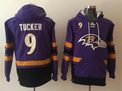Mens Nfl Baltimore Ravens #9 Justin Tucker Purple Pocket Pullover Hoodie Jersey