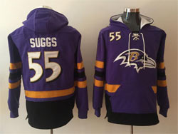 Mens Nfl Baltimore Ravens #55 Terrell Suggs Purple Pocket Pullover Hoodie Jersey